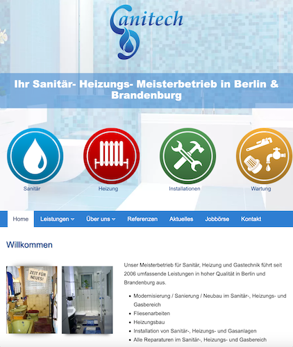Webdesign Berlin Brandenburg Sanitär-Website